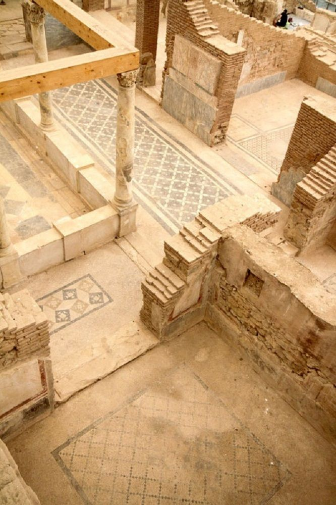 PAUL'S JOURNEY - Ephesus, Turkey - Floor tiles in Ephesus. Ephesus was one of the 12 cities of the Ionian League during the Classical Greek era. It later become a major Roman city. It is located on the coast of Ionia near present day Selcuk, Izmir Province, Turkey.
