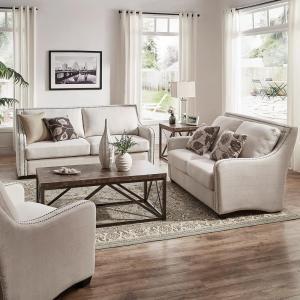 HomeSullivan Sloane 1-Piece Off-White Linen Sofa-40E939WL-3BSOFA - The Home Depot