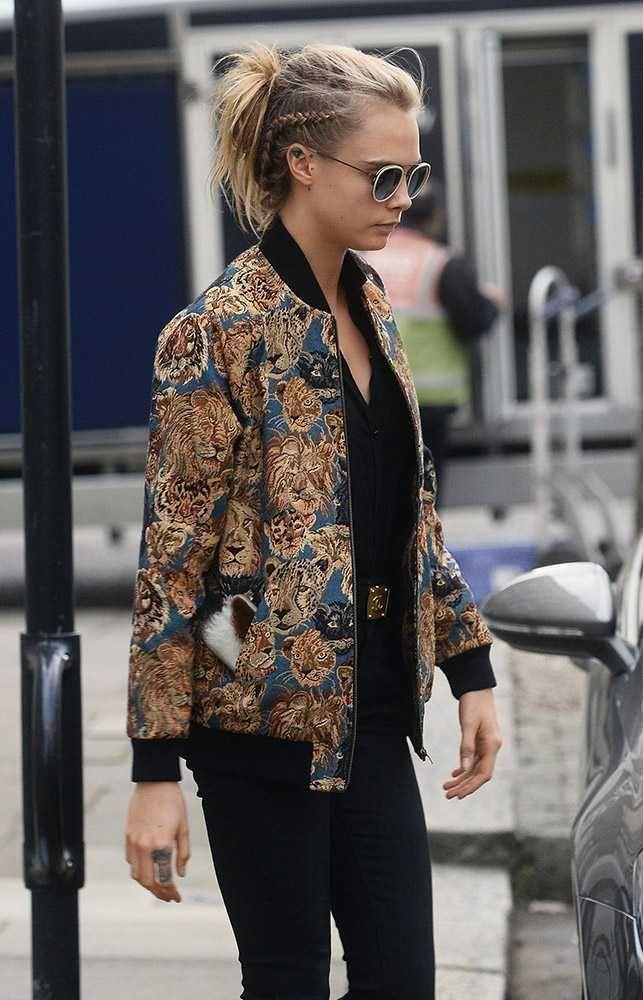 We love Cara Delevingnes embroidered jacket. #mylifemystyle cara delevingnes style file