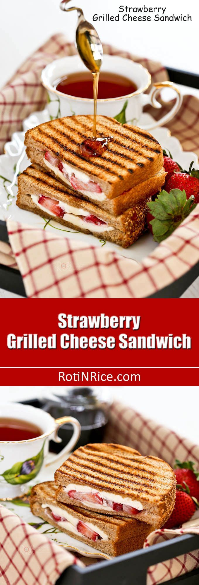 Enjoy your fruit and sandwich together in this Strawberry Grilled Cheese Sandwich. Delicious as is or drizzled with maple syrup. | http://RotiNRice.com