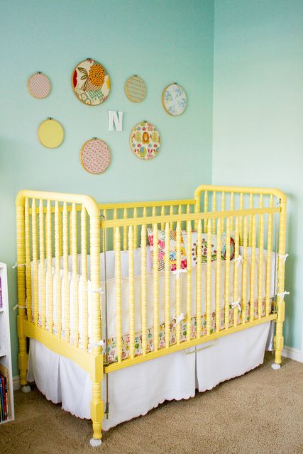 Yellow painted Jenny Lind crib. Love the color combo of the walls and crib.