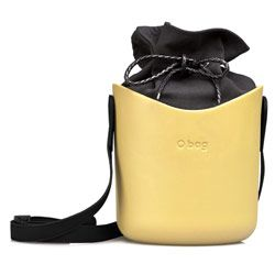 O Basket - Yellow '50 with Black Faux Strap and Black Canvas Insert
