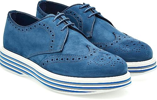 Church's Shoes - Set on 30mm platform soles, the striped look adds a contemporary touch to the signature derby silhouette from Church's. Designed with an intricate wingtip detail, the soft blue suede maintains the traditional appeal. - #church'sshoes #blueshoes