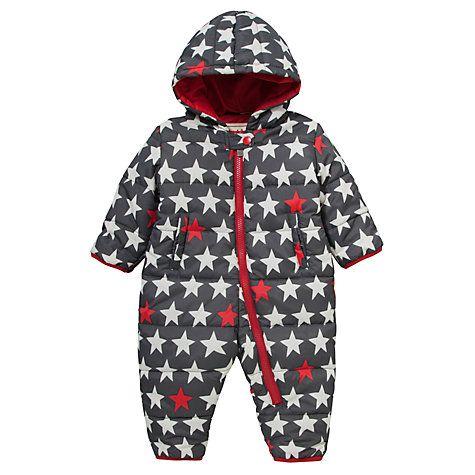 Hatley Padded Star Print Snowsuit, Grey, online at johnlewis.com