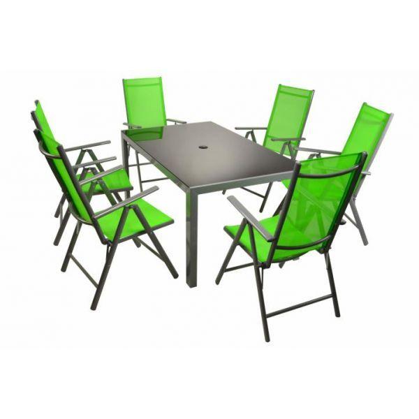 Alumiini 6 tuolia ja pöytä Vihreä, 549,95€. Todella näppärä alumiinikalustesarja puutarhaan. Tyylikkäät limen väriset kankaat antavat todella ilmettä puutarhaasi. Ilmainen toimitus! #tuoli #pöytä