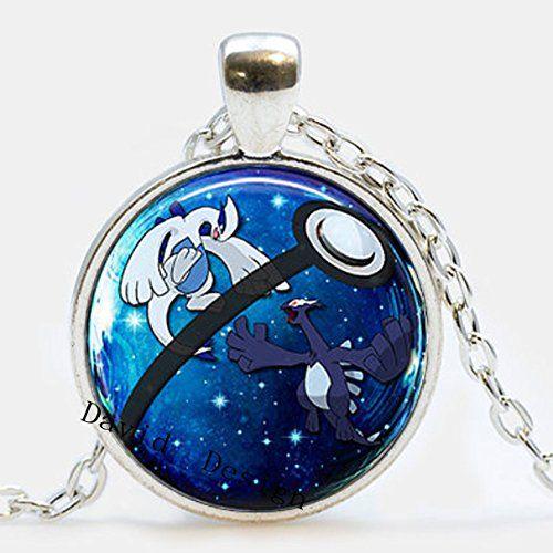 superb jewelry® Lugia & Shadow Lugia Pokeball Necklace // Legendary Pokemon // 1 Inch Round Pendant Gift Idea Gamer Gear a46 – Pokemon Jewelry