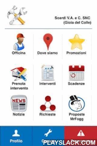 """Officina Service  Android App - playslack.com , Il costante monitoraggio delle condizioni di un veicolo non serve solo alla sicurezza di marcia, ma permette anche una ottimale gestione delle spese e programmazione interventi. Nell''App, sono rappresentate le officine della Regione Puglia che fanno parte del circuito """"officine amiche"""". L'utilizzatore può visualizzare in base al punto in cui si trova l'officina più vicina con una serie di vantaggi: - Elenco Promozioni anche in occasione di…"""