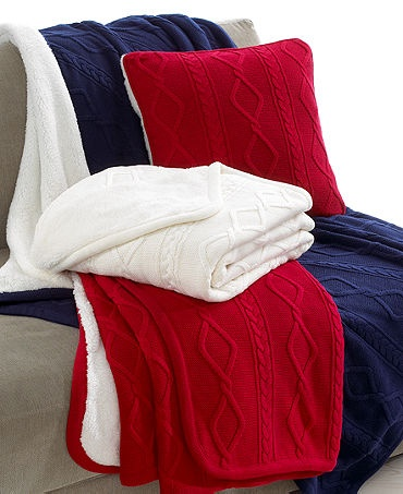 """Martha Stewart Collection Bedding, Reversible Cable Knit 18"""" Square Decorative Pillow #MarthaMacys"""