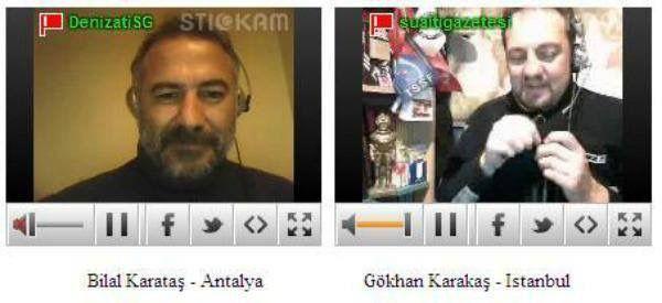 SGTV'de değerli arkadaşım milliyet gazetesi'nden Gökhan Karakaş ile internet üzerinden gerçekleştirdiğimiz ilk CANLI yayın... ilgi bir hayli fazlaydı..  Programın ismi DENIZKARTALI idi !