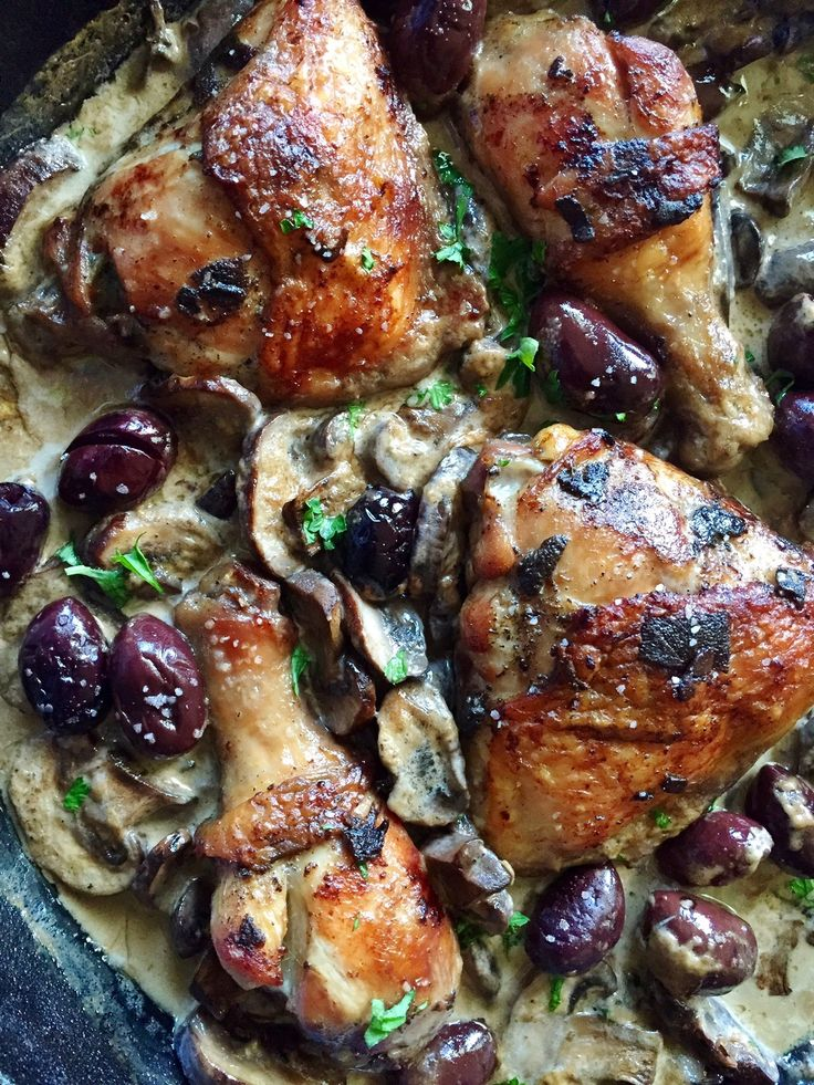 Marinated Roasted Chicken in a Homemade Wine Cream Sauce with Mushrooms and Kalamata olives.