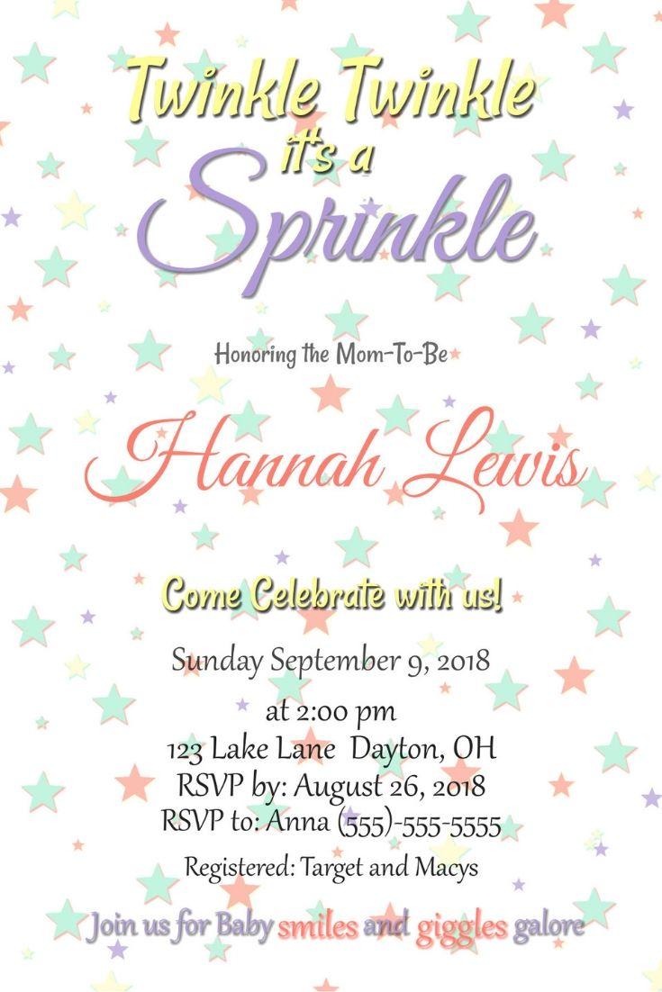 Gender Neutral Baby Sprinkle Invitation Mom To Be Baby Shower