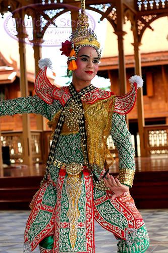Traditional Thai dress is colorful and ornate.  This is the costume of a Thai traditional dance performer.