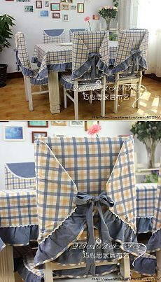 Nós costurar toalhas de mesa, capas de cadeira (de cozinha).