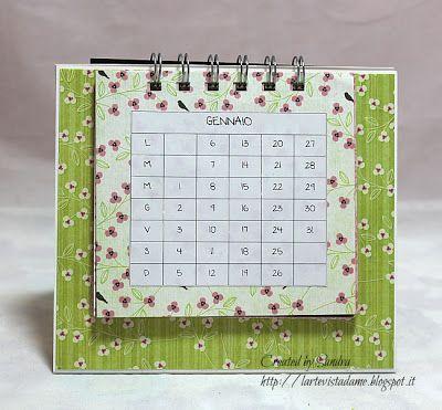 ...L'Arte vista da me...: Calendario da tavolo 2014 - Tutorial Scrapbooking