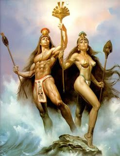 Ometeotl, the pair Ometecuhtli/Omecihuatl. Simultaneously male and female, represented the creative energy or essence from which the power of all other gods flowed. They existed above and beyond all the cares of the world, with no interest in what actually happens. God of duality, souls and heaven