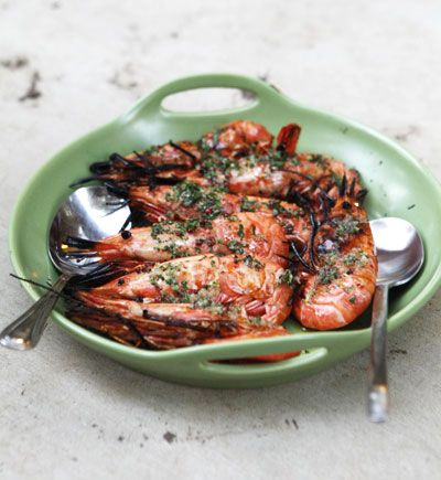 I've really been craving some grilled shrimp.  Grilled Spot Prawns with Finger Lime and Basil