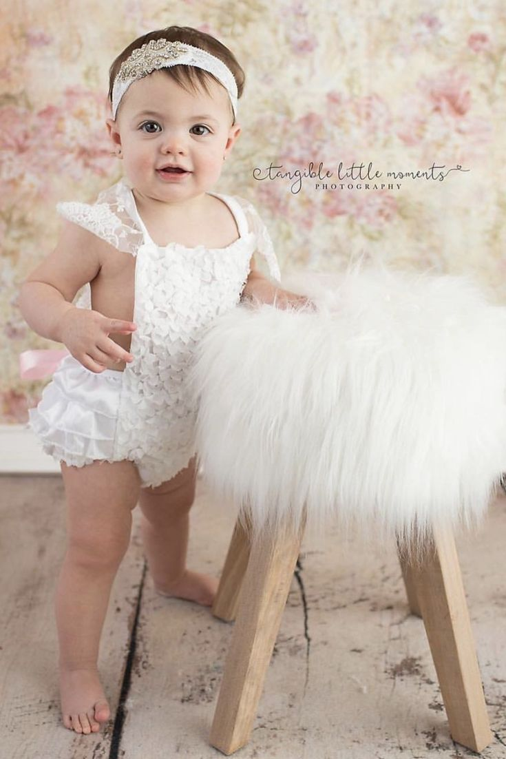 Cutest Romper for your baby girl! White lace Romper. Soft lace on shoulder, it's elegant for baptism or first birthday. Great baby shower gift. Pink tie on the back. Sweet outfit for a baby girl, get it now.