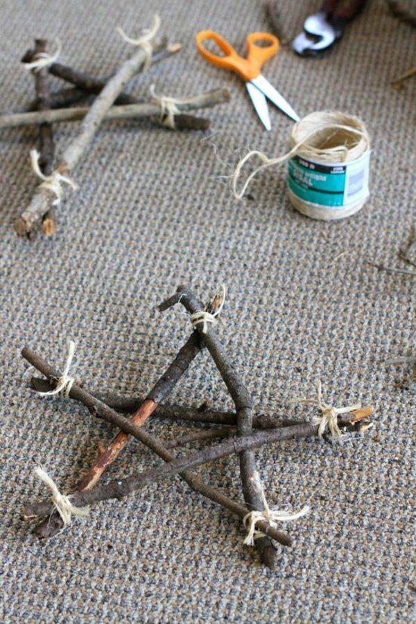 weihnachtsstern basteln aus treibholz und bindfaden