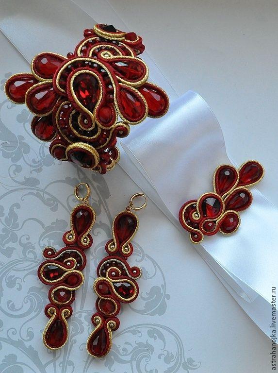 Браслет и серьги свадебные Рубиновое счастье. Handmade.