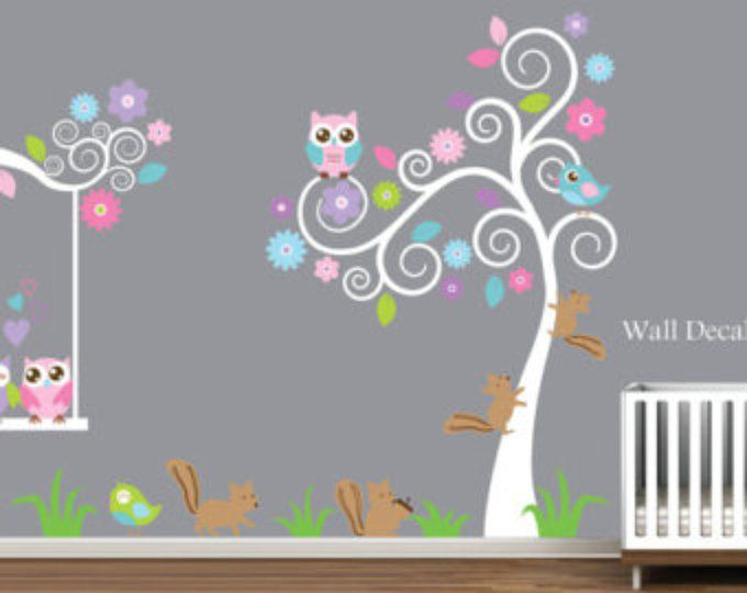Tatuajes de pared de vivero vivero árbol etiqueta de la pared, etiquetas de la pared del Animal, etiqueta de la pared de árbol, buho pared calcomanías, gran árbol calcomanía, etiquetas infantiles, bebé