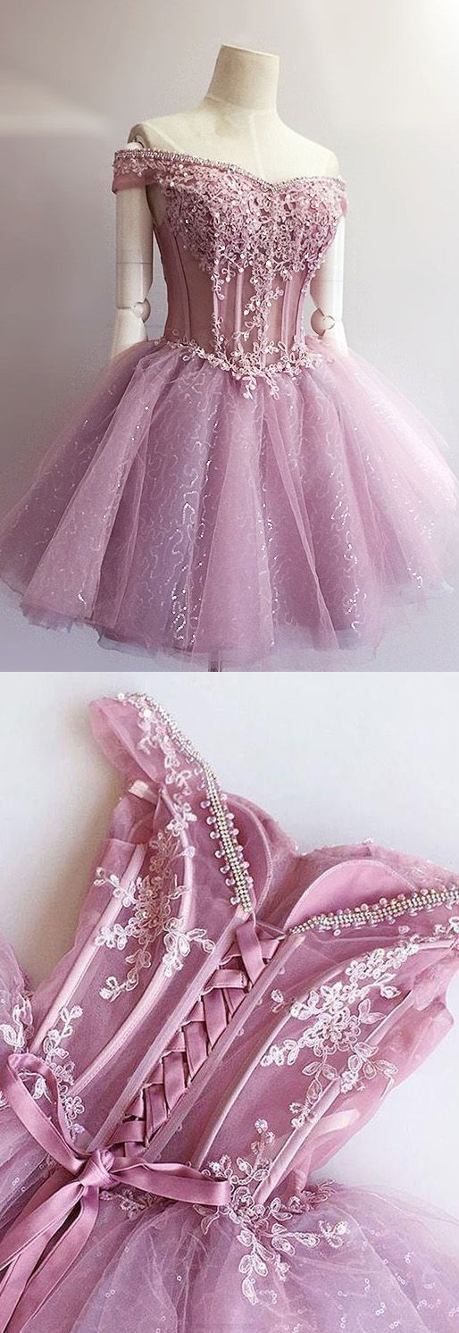 Prom Dresses 2017, Short Prom Dresses, 2017 Prom Dresses, Prom Dresses Short, Lilac Prom Dresses, Homecoming Dresses 2017, Homecoming Dresses Short, Prom Short Dresses, Short Homecoming Dresses, Sleeveless Homecoming Dresses, Lilac Sleeveless Party Dresses, 2017 Homecoming Dress Off-the-shoulder Lace-up Short Prom Dress Party Dress
