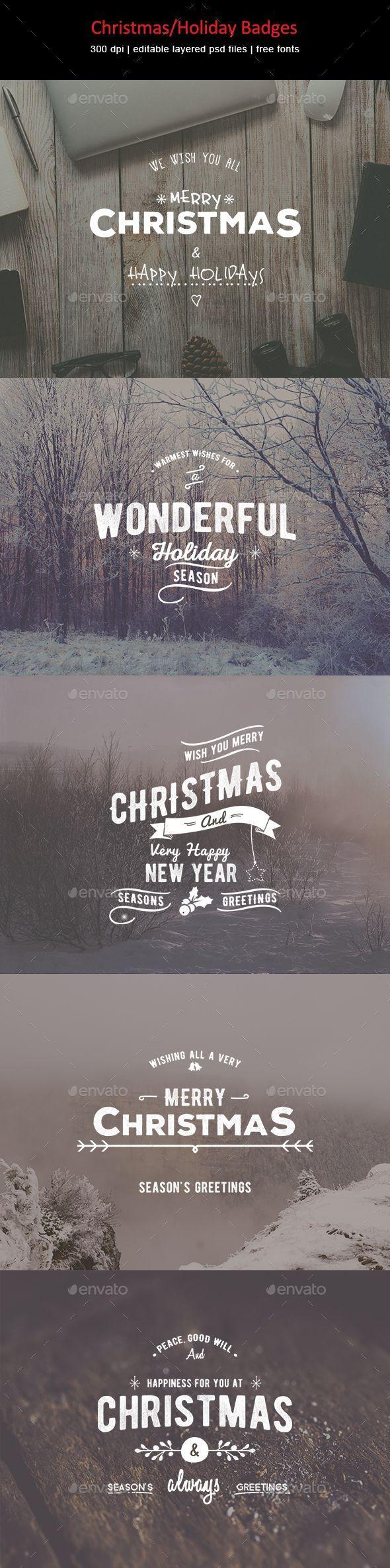 Christmas / Holiday Badges #design Download: http://graphicriver.net/item/christmasholiday-badges/13465335?ref=ksioks