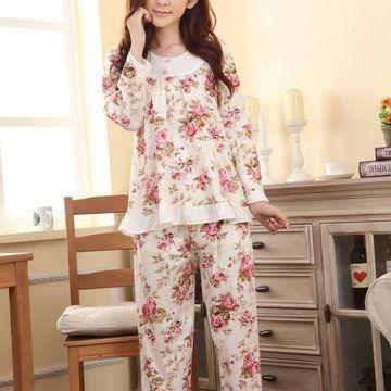 Casual Printing Long Sleeve Sleepwear Sets Round Neck Pajamas For Women - Newchic