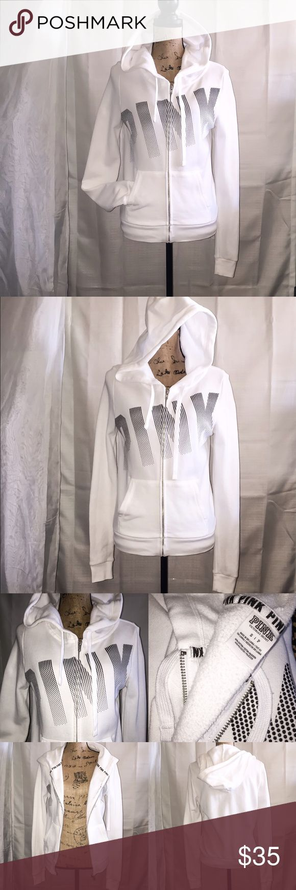 VS PINK Zip up Hoodie, Victoria Secret Hoodie This VS PINK hoodie is a bright white with black lettering. It is in good shape, I never put it in the dryer, always air dry. I am downsizing so make an offer if you are interested. No trades. PINK Victoria's Secret Jackets & Coats