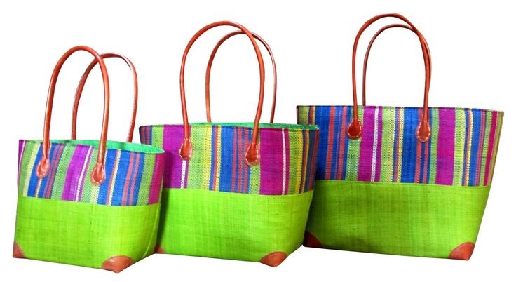 Hanta stripe baskets in lime green small medium and