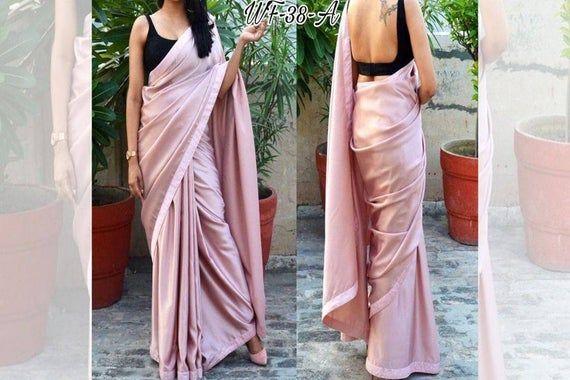 Beautifully designer Heavy Japan satin silk saree with Satin Lace Border n digital print blouse for women