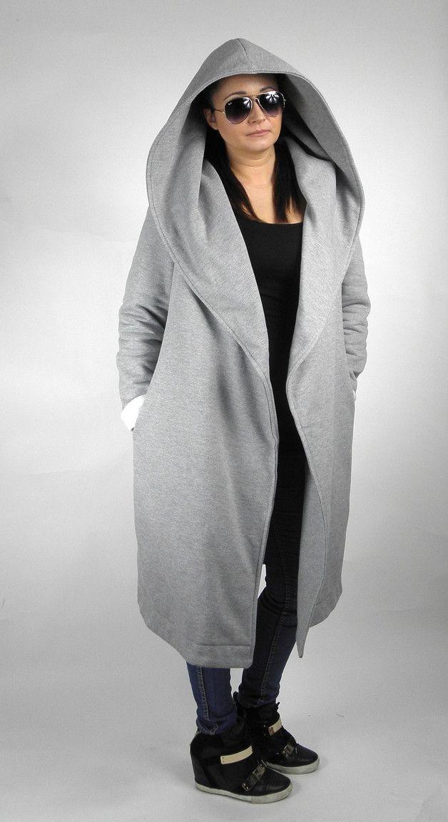 Płaszcz damski dresowy jesienny dwustronny kaptur - metamorphosistyle - Płaszcze