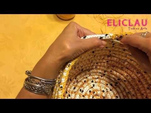 Cesta artesanal de soga con técnica de crochet | Handmade rope basket | EliClau - YouTube