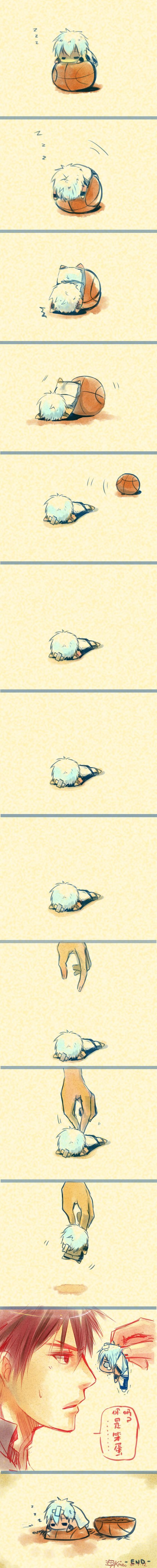 Kuroko dort sur un ballon de basket mais il tombe et Kakamie découpe le ballon et le problème est réglé .