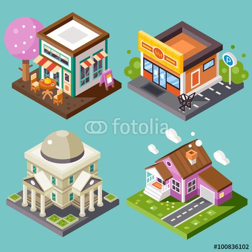 Vector: Pretty nice city isometric buildings isolated: nice street cafe with fancy-looking tree, supermarket with parking, library, nice home building with garage. Flat stock vector illustration.