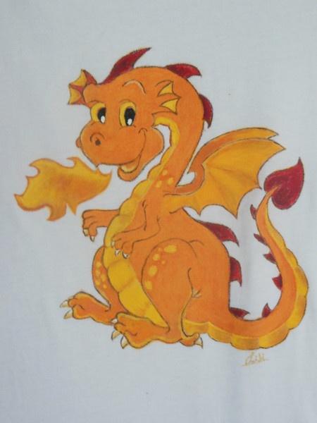 Camiseta pintada a mano, motivo infantil