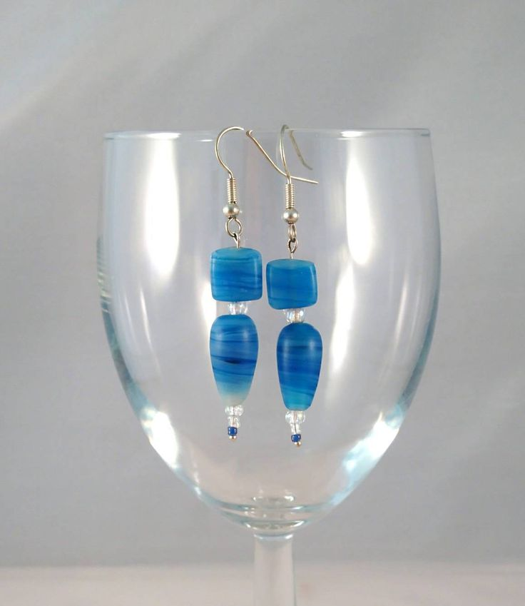 Excited to share the latest addition to my #etsy shop: Handmade Beaded Earrings. Silver Plated Blue Glass Bead Beaded Jewellery. Gifts for Her, Organza Gift Bag. Unique, One of a Kind. http://etsy.me/2oFrSwH