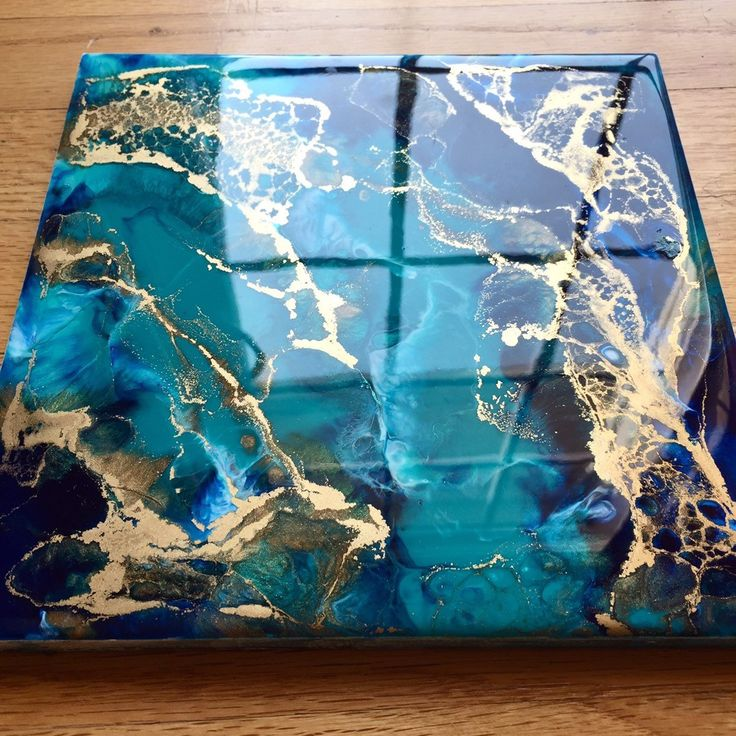 Made-to-order 8″ x 8″ Abstract Painting – Resin Art – Resin Painting – Abstract Art – Modern Art – Wall Art – Turquoise – Gold