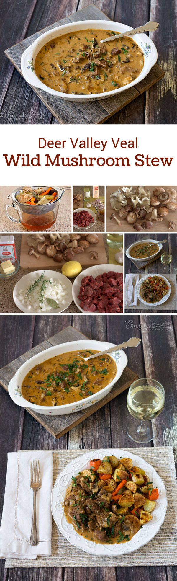 Deer Valley Veal Wild Mushroom Stew is loaded with wild mushrooms in a rich sauce made with white wine, heavy cream and mushroom stock.