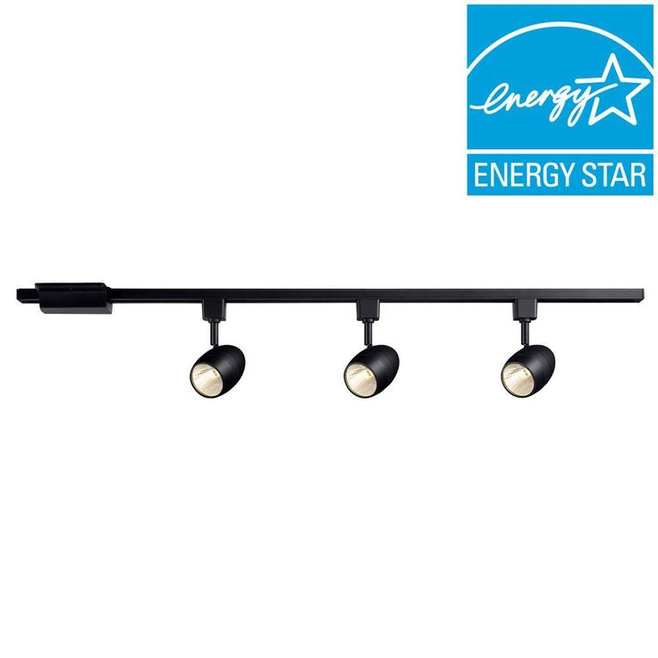 Hampton Bay 39.37 in. 3-Light Black Dimmable LED Track Lighting Kit-16033KITV-BK - The Home Depot