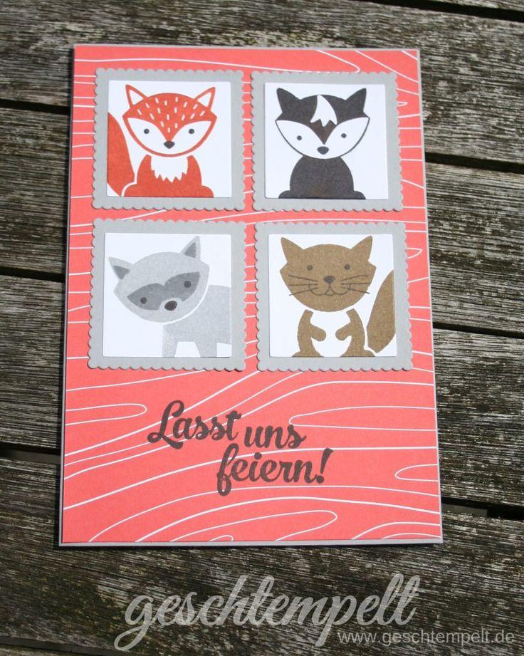 Stampin up, Briefmarken Technik, Postage Stampin Technique, Anleitung in Bildern, Tutorial, Foxy Friends, Konfetti Grüße, Confetti Celebration