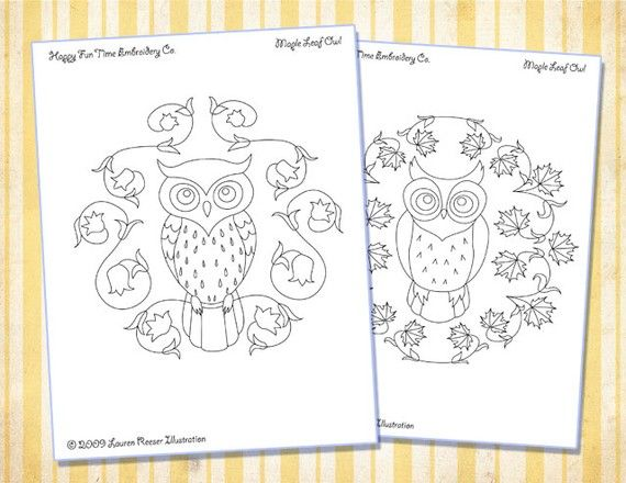 owl embroidery patternHand Embroidery, Owls Pattern, Embroidery Patterns, Wreaths Pattern, Hands Embroidery, Owls Embroidery, Crafts Inspiration, Owls Stuff, Owl Patterns