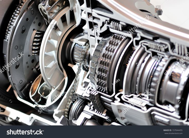 Crosssection of a car gearbox and clutch sponsored