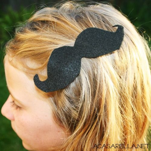 "These mustache barrettes are so easy to make!     -Tania, if you see this, the answer is ""YES!"" This is what I intend to do for upcoming mustache day."