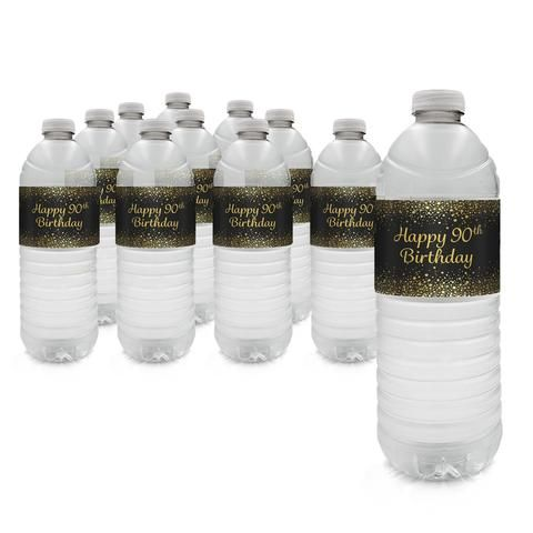 90th Birthday Party - Gold & Black Water Bottle Labels (Set of 20)