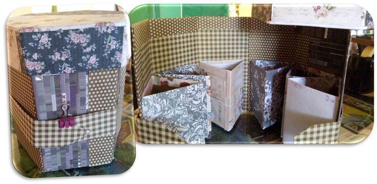 organizador reutilizando carton de cajas de zapatos, y papel decorado sobrante de otras manualidades.  Seguí el tutorial de Decoración de cajas, Manualidades, labores y artesanias. gracias