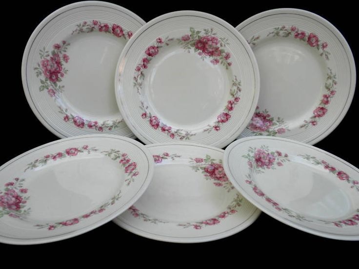 Wood & Sons c1930 Dinner #Plate x 6 #BriarRose 9in Art Deco IvoryWare Pink Rose #WoodSons