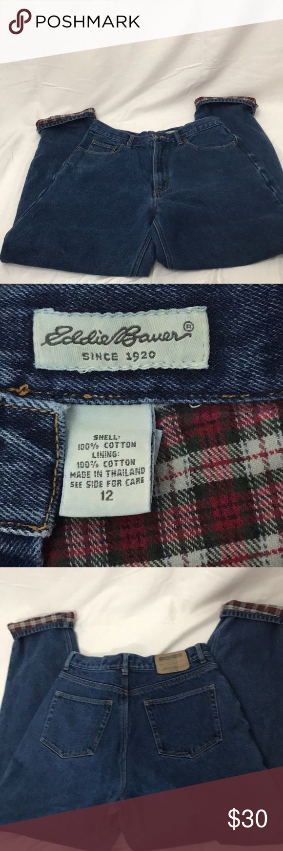 """Eddie Bauer Flannel Lined Jeans Flannel lined Eddie Bauer jeans. Waist is approximately 14.5"""", rise is approximately 12.5"""", inseam is approximately 30"""". Eddie Bauer Jeans"""