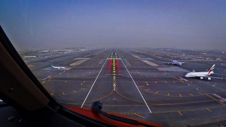 Pilotsview 777 Into Dubai Airport Runway 12l Dubai International Airport Overseas Jobs Dubai Airport