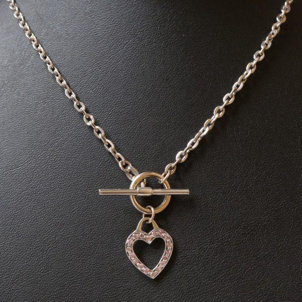 Vintage 9carat White Gold 17 Belcher Chain W Heart T Bar Clasp