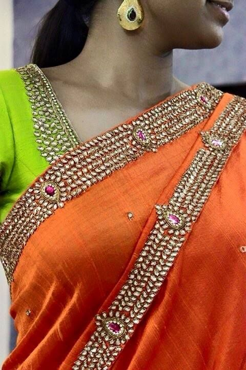Kundan embroidery in raw silk Saree and contrast blouse